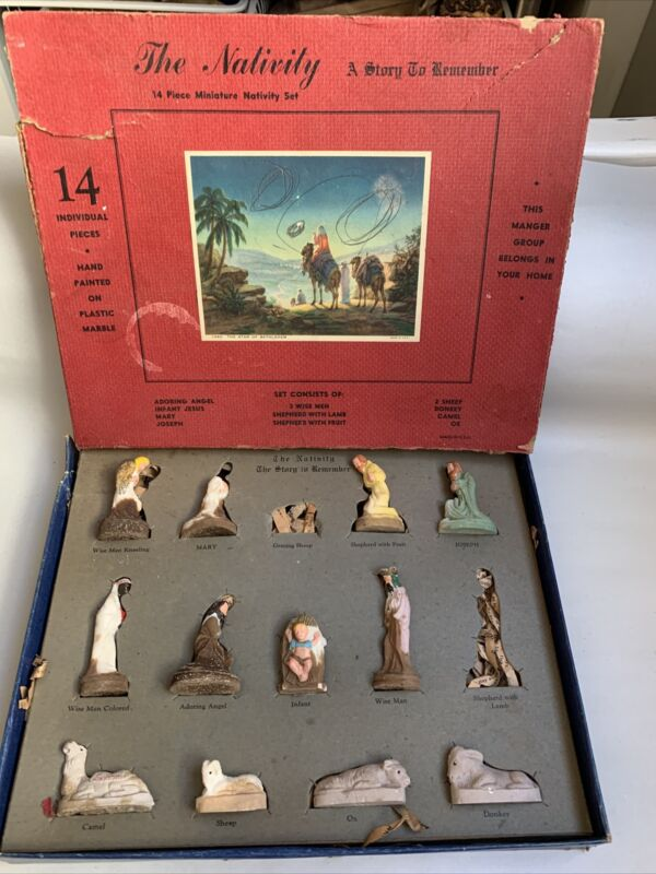 """Antique 1930s Miniature Nativity Figures Christmas Made in USA box = 12x9.5"""" #M1"""