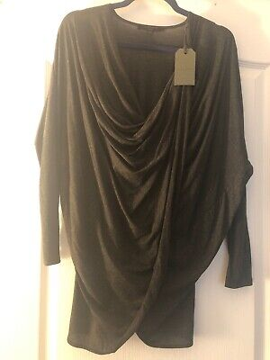 Allsaints All Saints Jersey Itat Shrug Top Shirt Charcoal Grey SzS NWT $150 - Grey Shrug Top Shirt