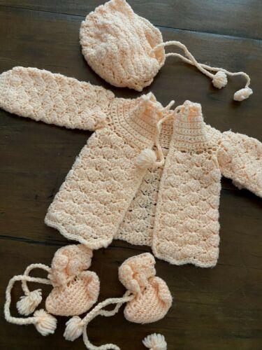 Vintage Baby Jacket Set Hand Crochet Peach Newborn Booties Bonnet (27)