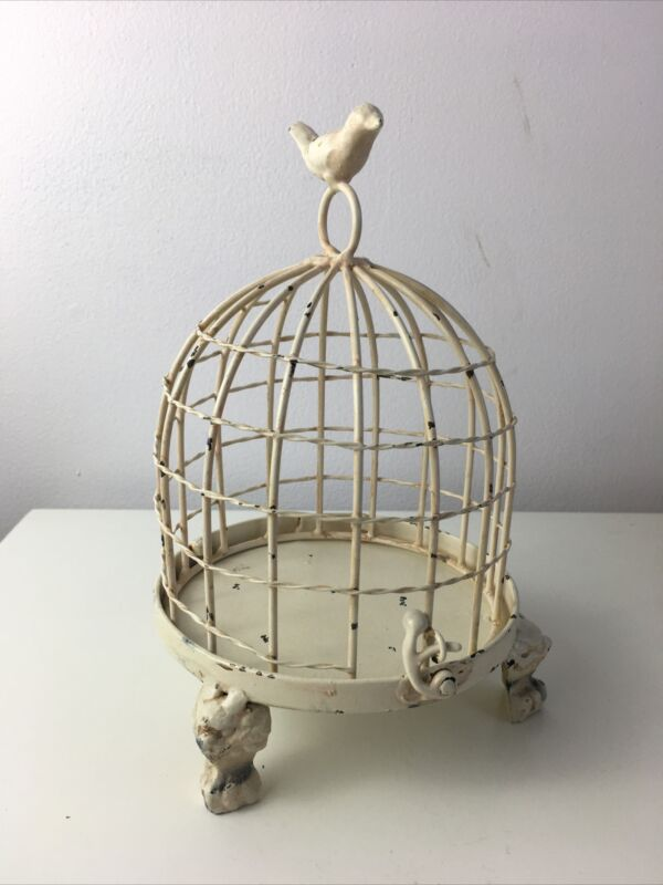 Rustic Farmhouse Cream Metal Wire Bird Cage Decorative Candle/plant Holder