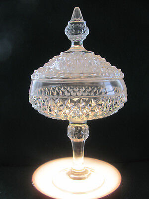 VTG 50-60'S CLEAR TALL DIAMOND PATTERN PEDESTAL COVERED SERVING DISH