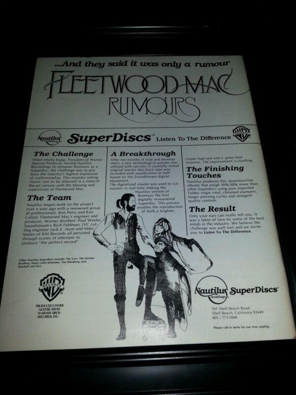 Fleetwood Mac Rumors Rare Original Promo Poster Ad Framed!