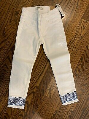 Abercrombie Kids Girls White Ankle Length Jeans With Blue Details  NWT Size 7/8