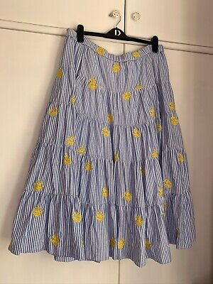 j Crew blue stripe Pineapple Embroidery Tiered maxi Skirt size US 12 Uk 16 VGC