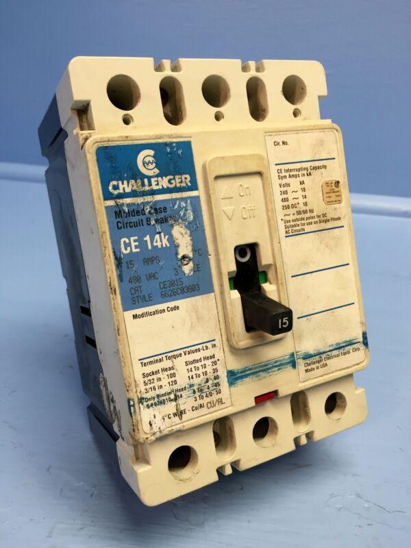 Challenger CE3015 15A Circuit Breaker CE3015L 3P Cutler-Hammer 15 Amp bad label