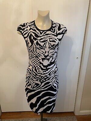 Alexander McQueen McQ Dress Knit Tiger Black White Size 44 8 M