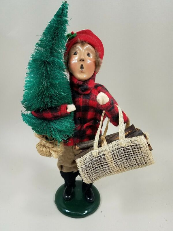 """Byers Choice 10"""" Boy Teen Man Red Flannel Carrying Tree Firewood 1993 HTF EXC"""