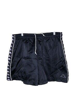 Vintage 90s Men's XL Kappa Black Taped Athletic Nylon Shorts RARE