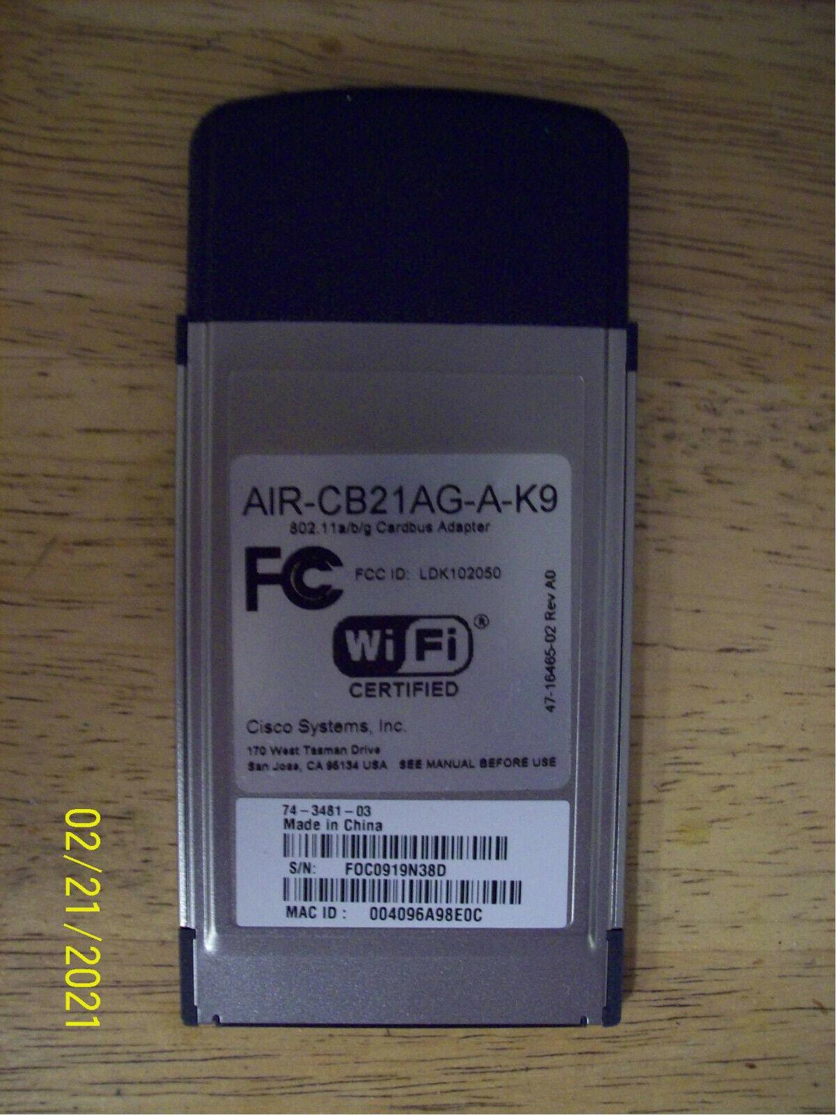 Cisco Aironet 802.11a/b/g Wireless Adapter AIR-CB21AG-A-K9 PCMCIA - $11.00