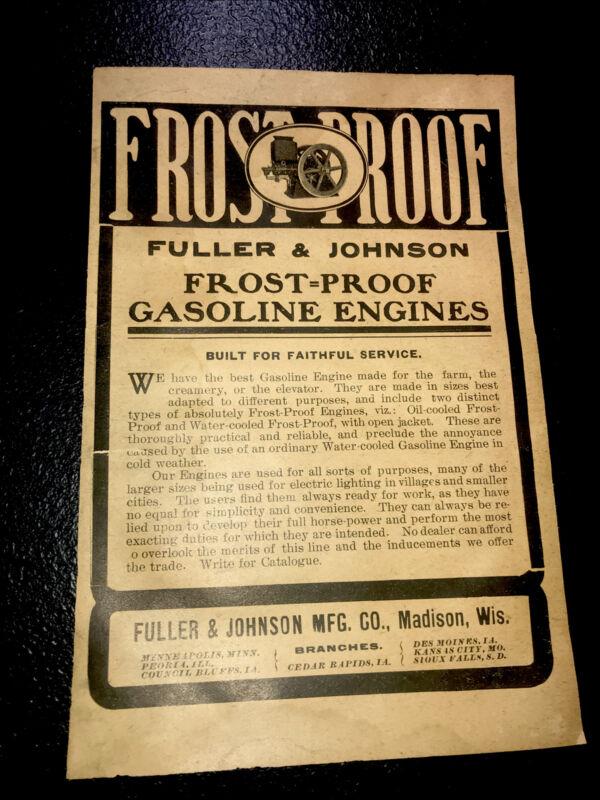 1908 Fuller & Johnson Gasoline Engines Farm Advertising - Madison - Wisconsin