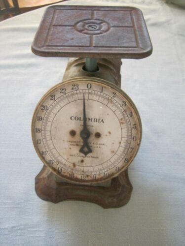 Vintage Columbia 24 lb Scale, Rusty Primitive Steampunk Farm Barn Kitchen Decor