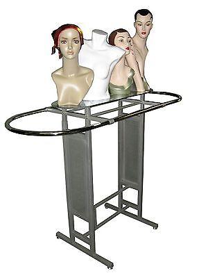 Double Bar Silver Clothing Garment Racks Store Fixture Rack Wglass Shelf Ys14