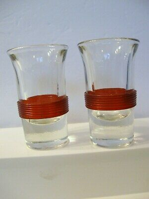 2 Vintage Deco Shot Glasses RED Celluloid Band  BLADE RUNNER Star Trek Band Shot Glasses