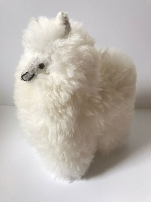Auskin Alpaca Collection Company Real Baby Fur Plush Toy White Super Soft No Tag
