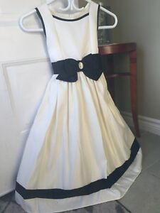 Flower girl dress. Off white / cream and black. Size 10