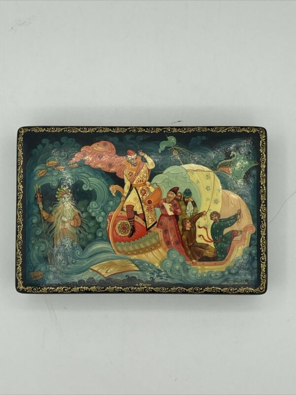 Vintage Russian lacquer box (w/ Provenance) Sadko Water Scene hand painted