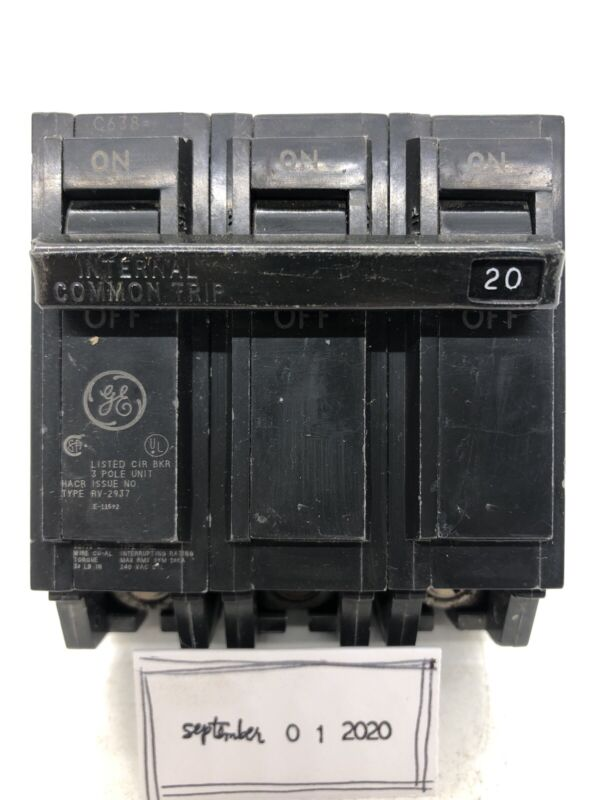 GE GENERAL ELECTRIC THQL32020 3 POLE 20 AMP 240V CIRCUIT BREAKER
