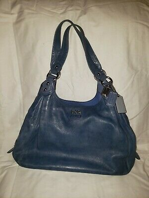 COACH Madison Maggie Blue Leather Shoulder Hobo Purse HandBag 14336