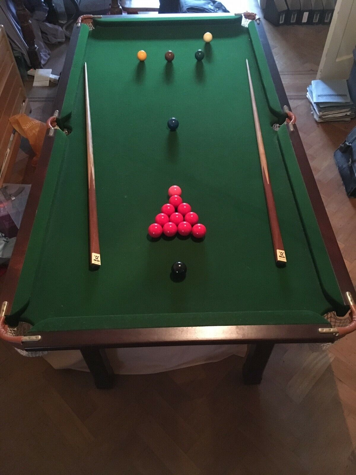 Riley 6 foot x 3 foot snooker and pool table. Complete cue's and ball stes.