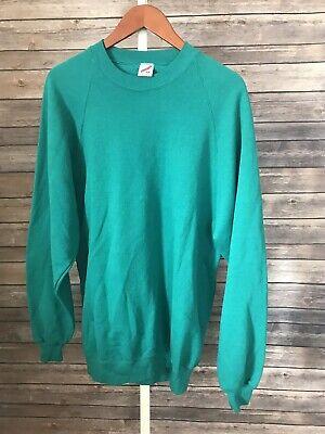 Vintage Jerzees Crewneck Sweatshirt Teal Adult Size 2X Made in USA 50/50