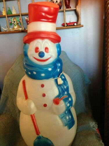 """VNTG 4TH OF JULY EMPIRE 40"""" RED/WHITE/BLUE SNOWMAN BLOW MOLD W/LIGHT CORD #2"""