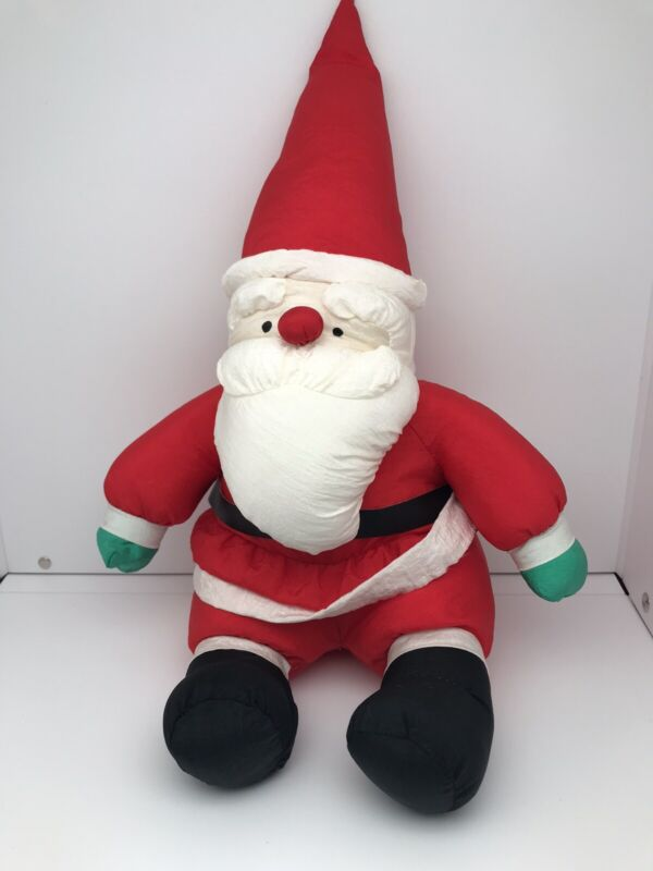 1989 America Wego Plush Santa Vintage Nylon Stuffed Holiday Christmas Doll