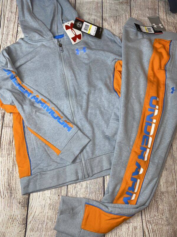 Under Armour Youth Medium XL Zip Up Hoodie Joggers Outfit Set NEW