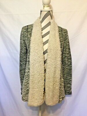 JACK ~ Women's Gray Faux Fur Trim ~Sleeves ~Open Front Draped Knit Jacket ~Sz.S