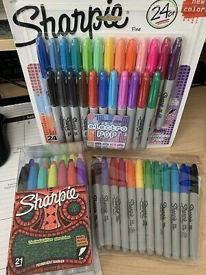 Huge Lot New Sharpie Markers Electro Pop Limited Edition Original Fine Point