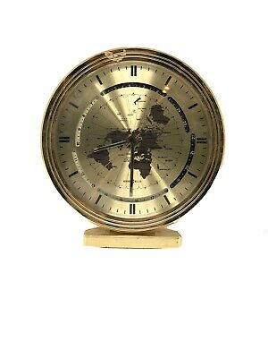 Rare Vintage Howard Miller World Time Gold Clock Made In Germany