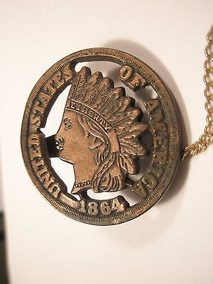 Indian Head Penny Coin Vintage Tie Bar Clip gift  (Indian Tie Bar)