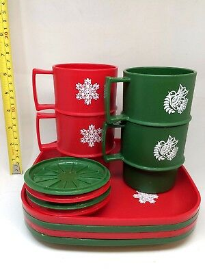 Vintage Tupperware Christmas Snowflakes and Doves Coffee Mugs and Square Plates