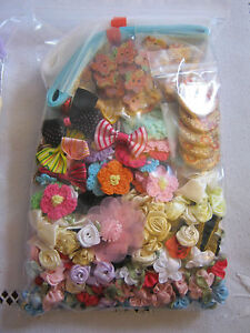 LARGE Bag of Assorted Appliques - Ribbon, Roses, Bows, Buttons, Flowers,Trims...