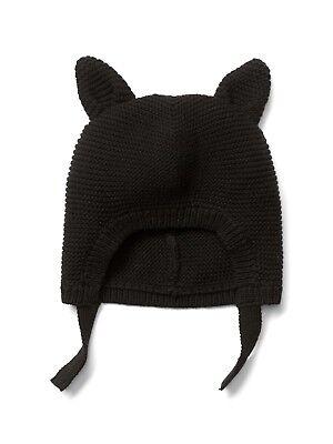 GAP Baby Girls Size 0-6 Months Black Kitty Cat Sweater Hat w/Ears / Halloween](Baby Cat Ears Halloween)