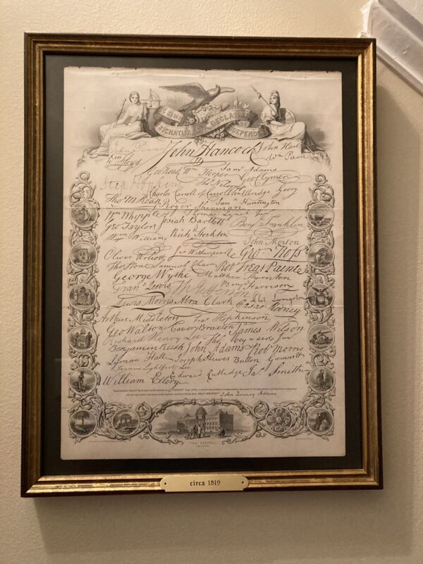 Antique Engraving Facsimile of the Signatures to the Declaration of Independence