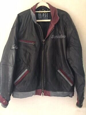 Status Quo 'On The Rocks' Vintage Black Leather Touring Bomber Jacket Size L 48""