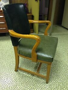 Hunter Green Leather Solid Wooden Chair  London Ontario image 1