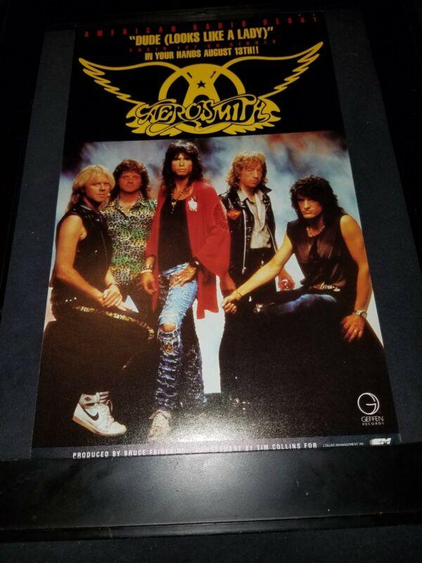 Aerosmith Dude Looks Like A Lady Rare Original Radio Promo Poster Ad Framed! #4