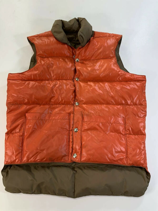VTG Mountaineer Down Reversible Snap Puffer Vest Hunting Brown Orange Mens Med