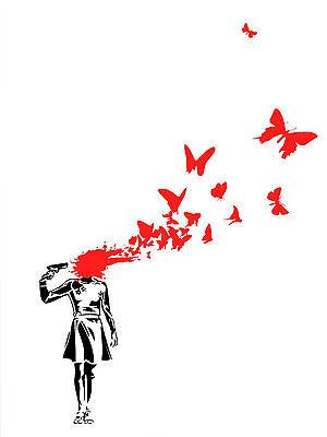 Banksy Suicide Butterflies Street art on canvas premium 16 x 20 Print graffiti