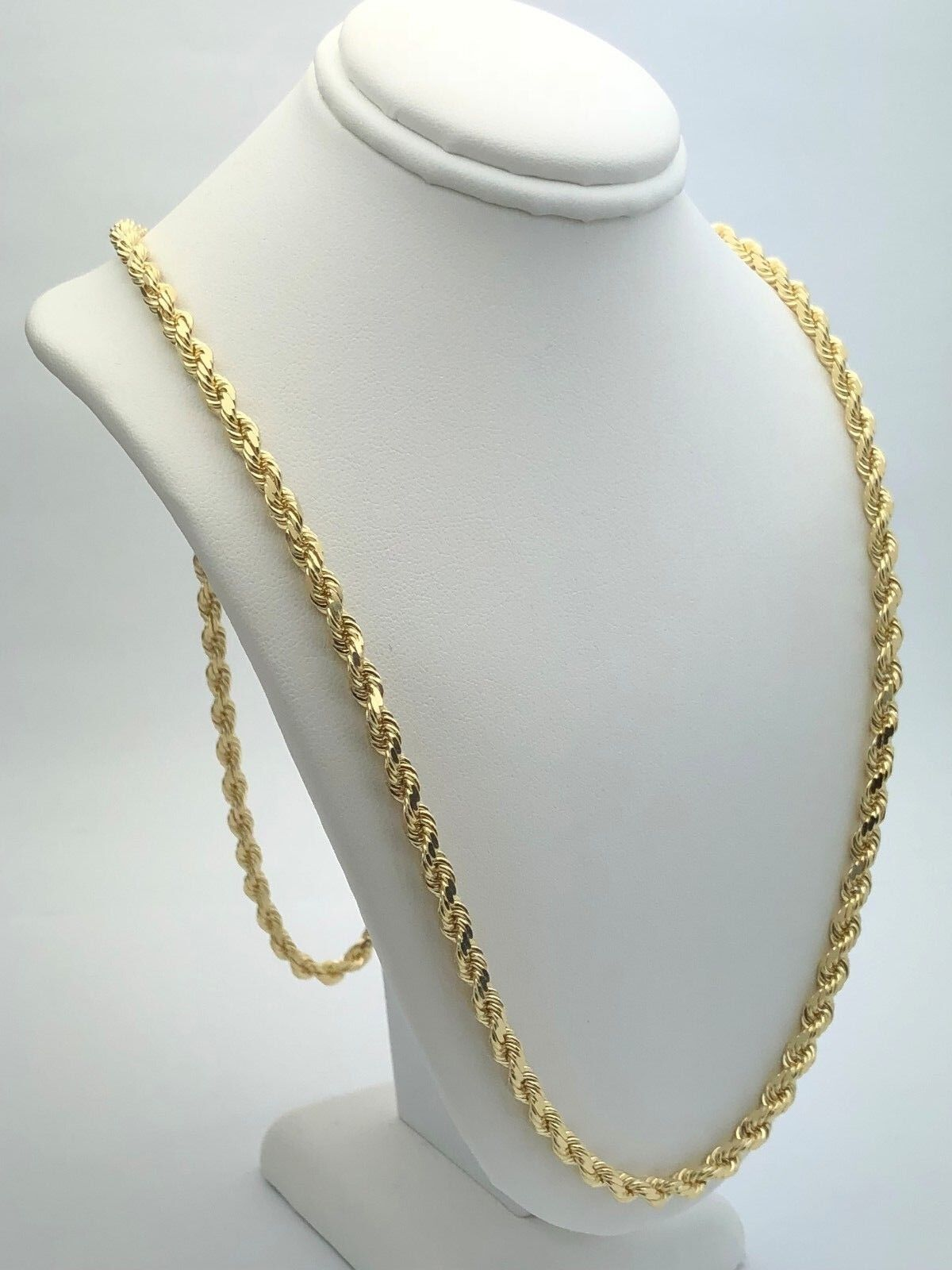 45f5be3820358 Details about 14k Yellow Gold Solid Diamond Cut Rope Chain Necklace 28