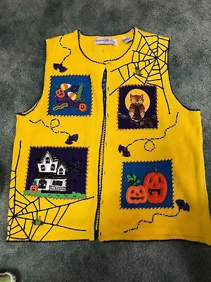 Halloween Holiday/Theme/Ugly Sweater Womens Size Small Yellow Beaded](Ugly Sweater Theme)