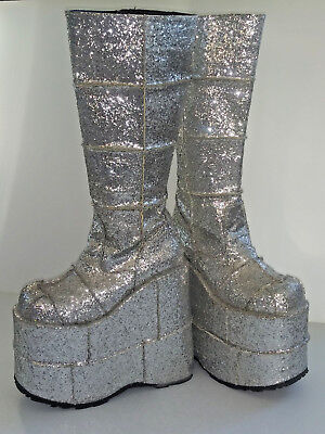 Halloween Music Cartoon (New Demonia Silver Glitter Platform Boots, Unisex, Men's 6,  Women's)