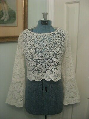 LAUREN CONRAD RUNWAY Cropped Sheer Lace Top Sz Small Occasion Evening