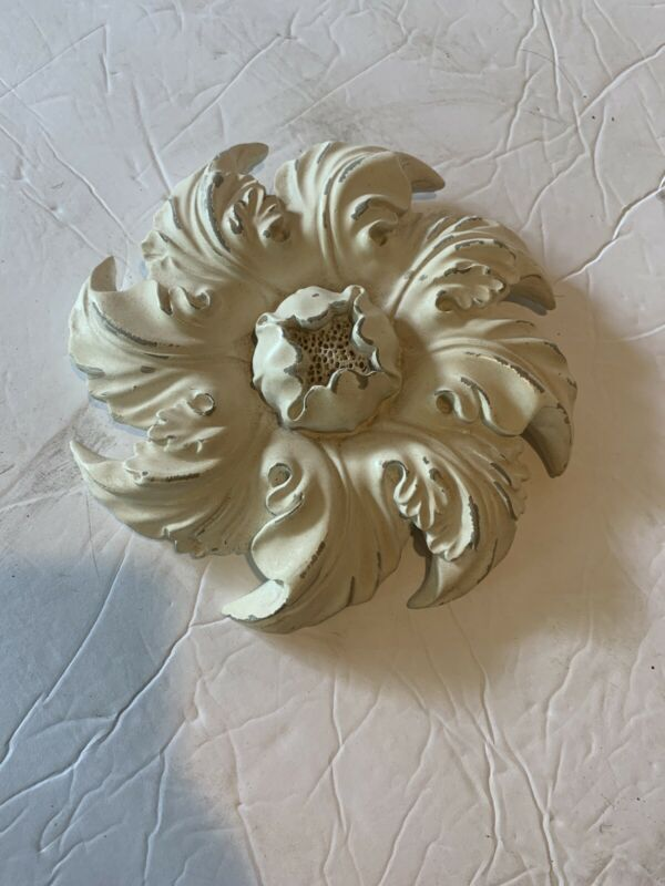 Vintage Style Plaster Medallion Flame Swirl Flower Cream Relief Architectural