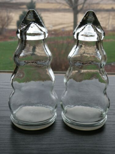 "Set of 2 Clear Glass Pine Tree Apothecary Candy Jars-7 1/2"" tall w/ Plastic seal"