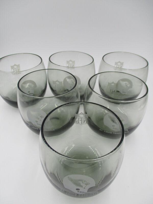 "SET OF 6 VINTAGE NFL ST. LOUIS CARDINALS SMOKEY GLASS TUMBLERS 3 1/4"""