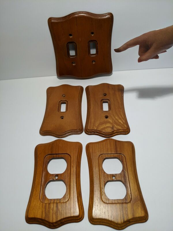 Vintage Real Wood Grain Outlet Receptacle Wall Cover Plates LOT of 5