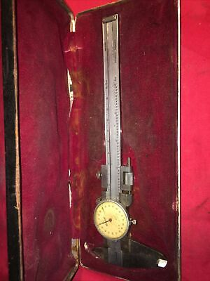 Vintage Mitutoyo 6 Dial Caliper In Red Felt Lined Case
