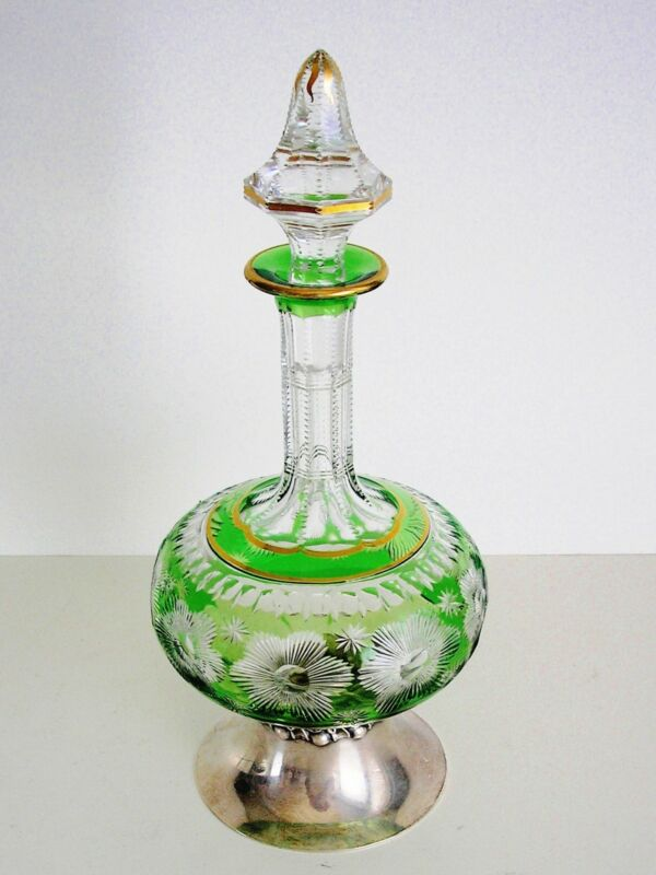 ANTIQUE VINTAGE GOLD / STERLING SILVER / EMERALD CASED CUT CLEAR DECANTER